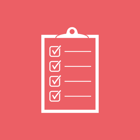 To do list icon. Checklist, task list vector illustration in flat style. Reminder concept icon on red background.