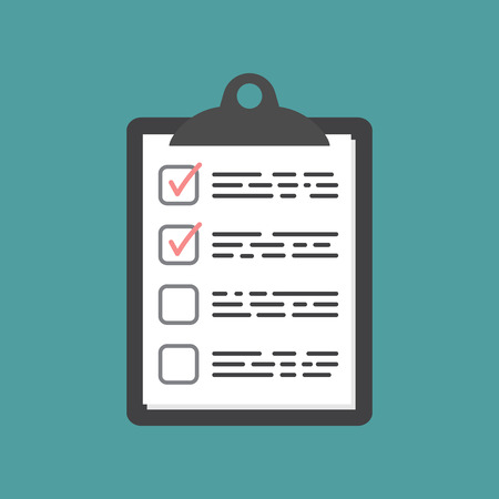 To do list icon. Checklist, task list vector illustration in flat style. Reminder concept icon on blue background.