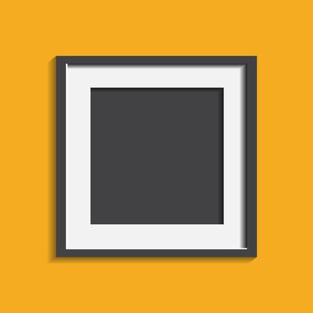 노란색 배경에 고립 현실적인 사진 프레임입니다. 그림 프레임 벡터 일러스트 레이 션.