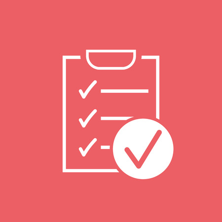 Checklist vector icon. Survey vector illustration in flat design on red background.