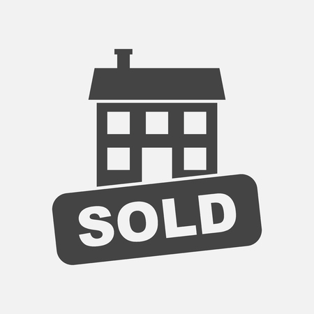 Sold house icon. Illustration in flat style on white background. Illusztráció
