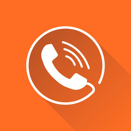Phone icon vector, contact, support service sign isolated on round orange background with long shadow. Telephone, communication icon in flat style.