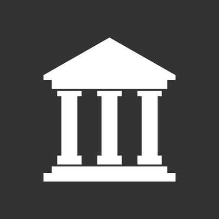 Bank building icon in flat style. Museum vector illustration on black background. Imagens - 74038564
