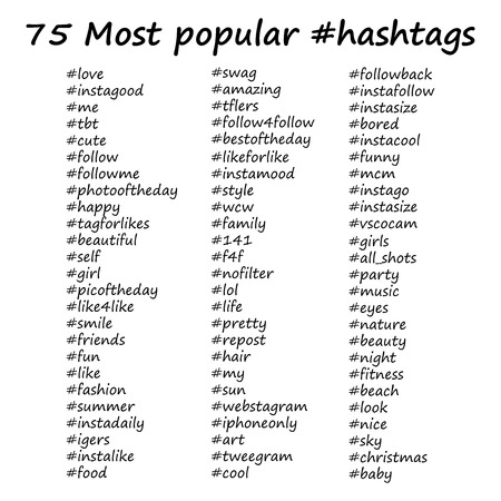 Most popular hashtags in hand drawn style. Vector illustration on white background.