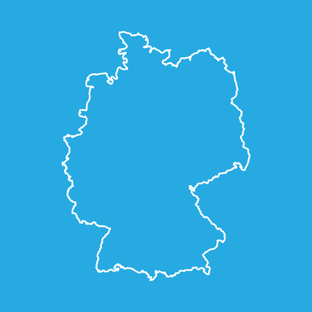 Germany map in line style. Vector illustration on blue background.