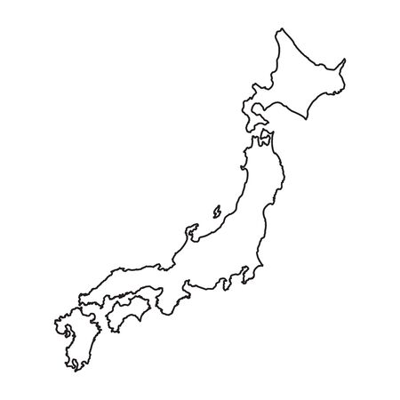 Japan map in line style. Vector illustration on white background.