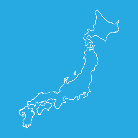 Japan map in line style. Vector illustration on blue background.