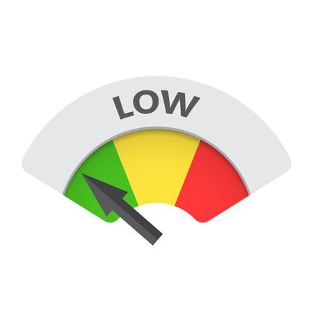 Low level risk gauge vector icon. Low fuel illustration on white background.