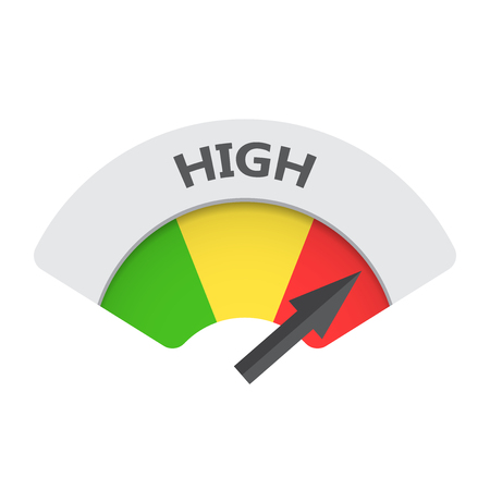 High level risk gauge vector icon. High fuel illustration on white background. Vectores
