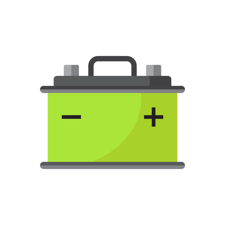 amperage: Car battery flat vector icon isolated on white background. Auto accumulator battery energy power illustration.