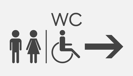WC, toilet vlak vector pictogram. Mannen en vrouwen tekenen voor toilet op witte achtergrond.
