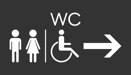 WC, toilet flat vector icon. Men and women sign for restroom on black background.