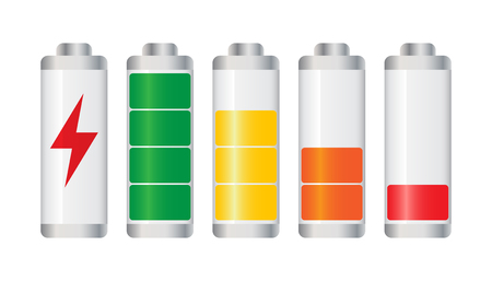 Set of battery charge level indicator. Vector illustration on white background.