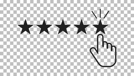 Klantrecensies, beoordelingen, gebruikersfeedback concept vector pictogram. Vlakke afbeelding op geïsoleerde achtergrond. Stock Illustratie