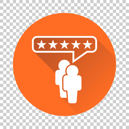Customer reviews, rating, user feedback concept vector icon. Flat illustration on orange background with long shadow.