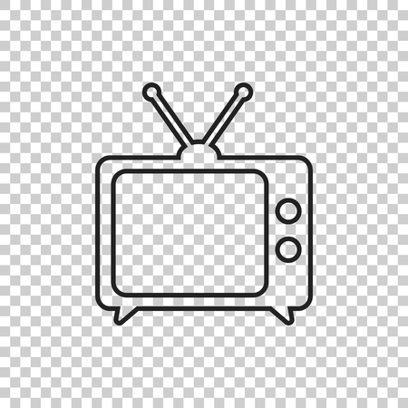 Tv Icon vector illustration in line style isolated on isolated background. Television symbol for web site design, logo, app, ui.