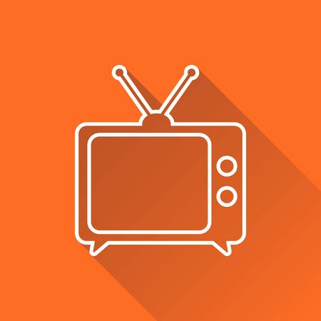 Tv Icon vector illustration in line style isolated on orange background with long shadow. Television symbol for web site design, logo, app, ui.