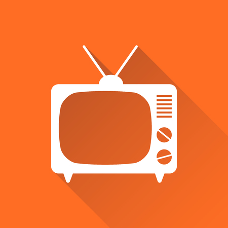 Tv Icon vector illustration in flat style isolated on orange background with long shadow. Television symbol for web site design, logo, app, ui.
