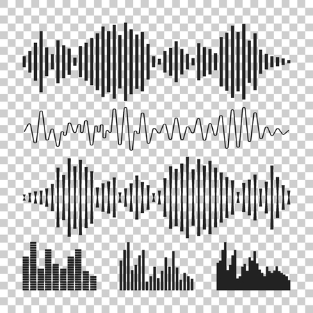Vector sound waveforms icon. Sound waves and musical pulse vector illustration on isolated background. Ilustrace