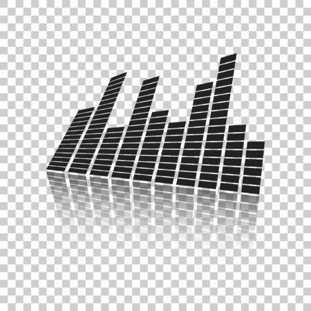 Vector sound waveforms icon on mirror. Sound waves and musical pulse vector illustration on isolated background with reflection effect.