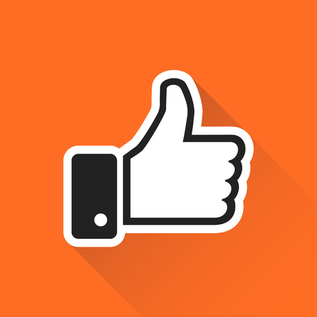 Like icon vector illustration in flat style isolated on orange background with long shadow. Thumb up symbol for web site design, logo, app, ui.