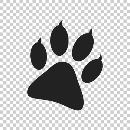 Paw print icon vector illustration isolated on isolated background. Dog, cat, bear paw symbol flat pictogram. 版權商用圖片 - 74114182