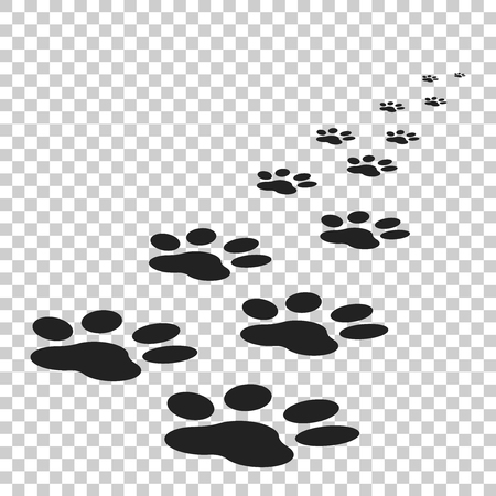 Paw print icon vector illustration isolated on isolated background. Dog, cat, bear paw symbol flat pictogram. 向量圖像