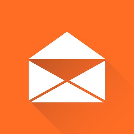 Mail envelop pictogram vector geïsoleerd op een oranje achtergrond met lange schaduw. Symbolen van e-mail platte vectorillustratie.