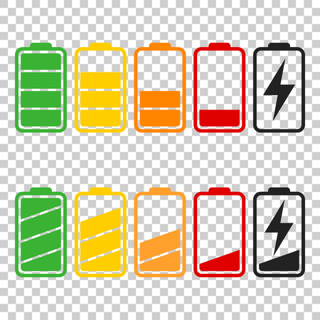 Battery icon vector set on isolated background. Symbols of battery charge level, full and low. The degree of battery power flat vector illustration. Çizim