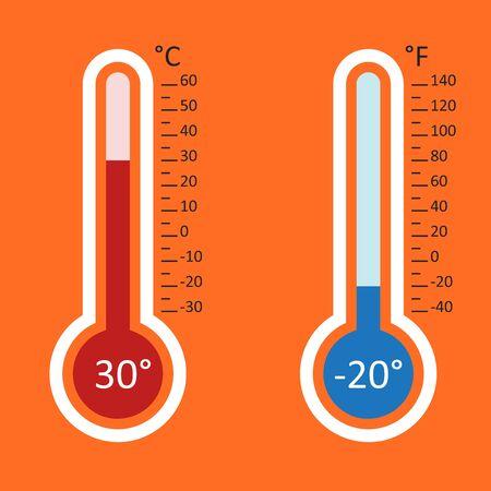 Thermometers icon. Goal flat vector illustration isolated on orange background.