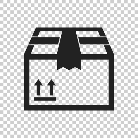 stockpile: Packaging box icon with arrow symbol. Shipping pack simple vector illustration on isolated background. Illustration