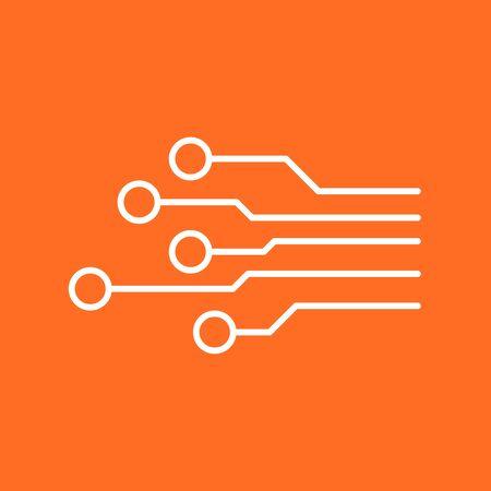 microcircuit: Circuit board icon. Technology scheme symbol flat vector illustration on orange background. Illustration