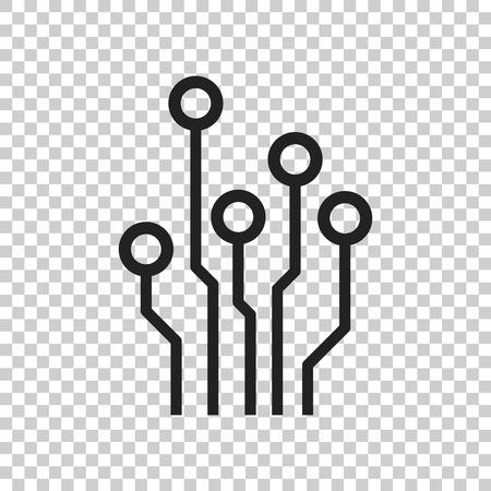 Printplaat pictogram. Het symbool vlakke vectorillustratie van de technologieschema op geïsoleerde achtergrond.