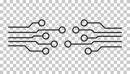 Circuit board icon. Technology scheme symbol flat vector illustration on isolated background. Ilustracja