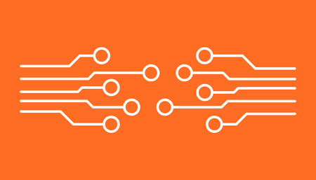 Circuit board icon. Technology scheme symbol flat vector illustration on orange background. Illustration