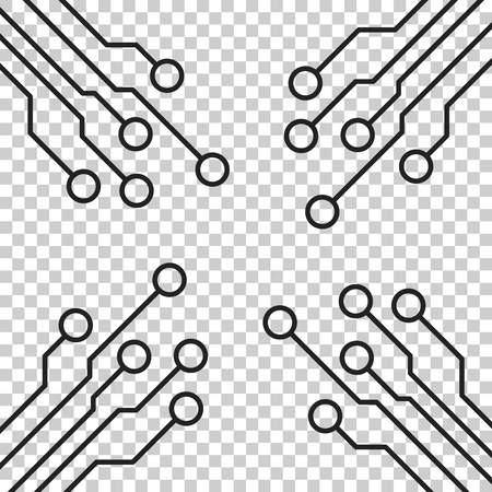 Circuit board icon. Technology scheme symbol flat vector illustration on isolated background. Çizim