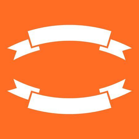 Badge icon. Ribbon vector illustration in flat style on orange background. 向量圖像