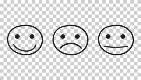Hand drawn smiley icon. Emotion face vector illustration in flat style on isolated background.