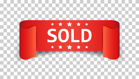 Sold ribbon vector icon. Discount, sale sticker label on isolated background.