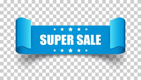 Super sale ribbon vector icon. Discount sticker label on isolated background.