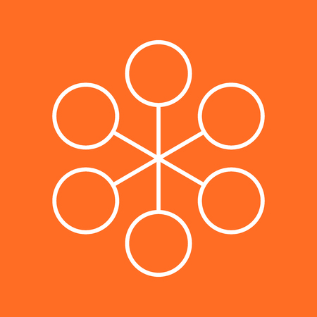 Structure simple flat icon. Vector illustration on orange background.