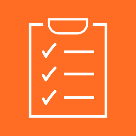 To do list icon. Checklist, task list vector illustration in flat style. Reminder concept icon on orange background.