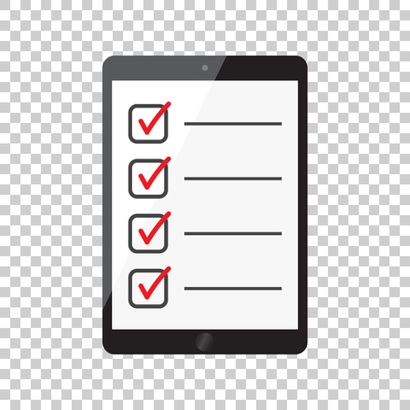 Businessman checklist with tablet. Check list icon flat vector illustration.