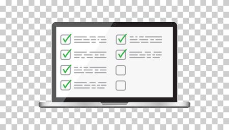 Businessman checklist with notebook. Check list icon flat vector illustration. Stock Illustratie