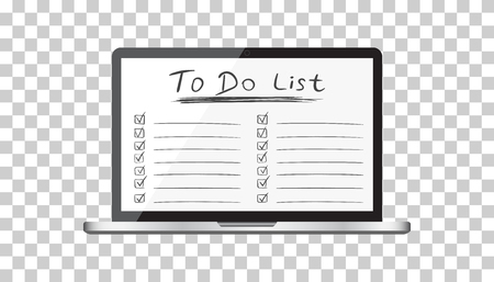 Businessman to do list, checklist with laptop computer. Check list icon flat vector illustration.