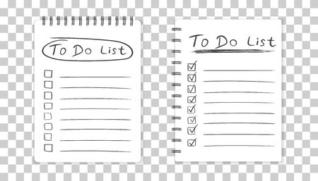 spiral notebook: Realistic notepad with spiral. To do list icon with hand drawn text. School business diary. Office stationery notebook on isolated background Illustration