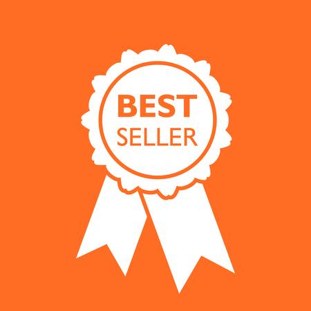 Best seller ribbon icon. Medal vector illustration in flat style on orange background. 일러스트