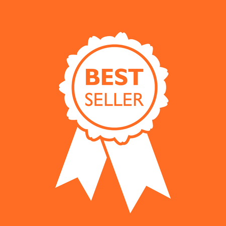 Best seller ribbon icon. Medal vector illustration in flat style on orange background. Иллюстрация