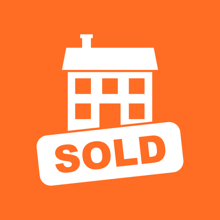 Sold house icon. Vector illustration in flat style on orange background.