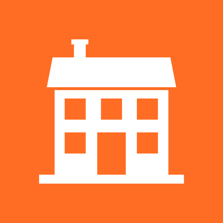 House icon. Vector illustration in flat style on orange background.